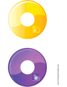 Printable Yellow Purple Folder Backups CD-DVD Labels